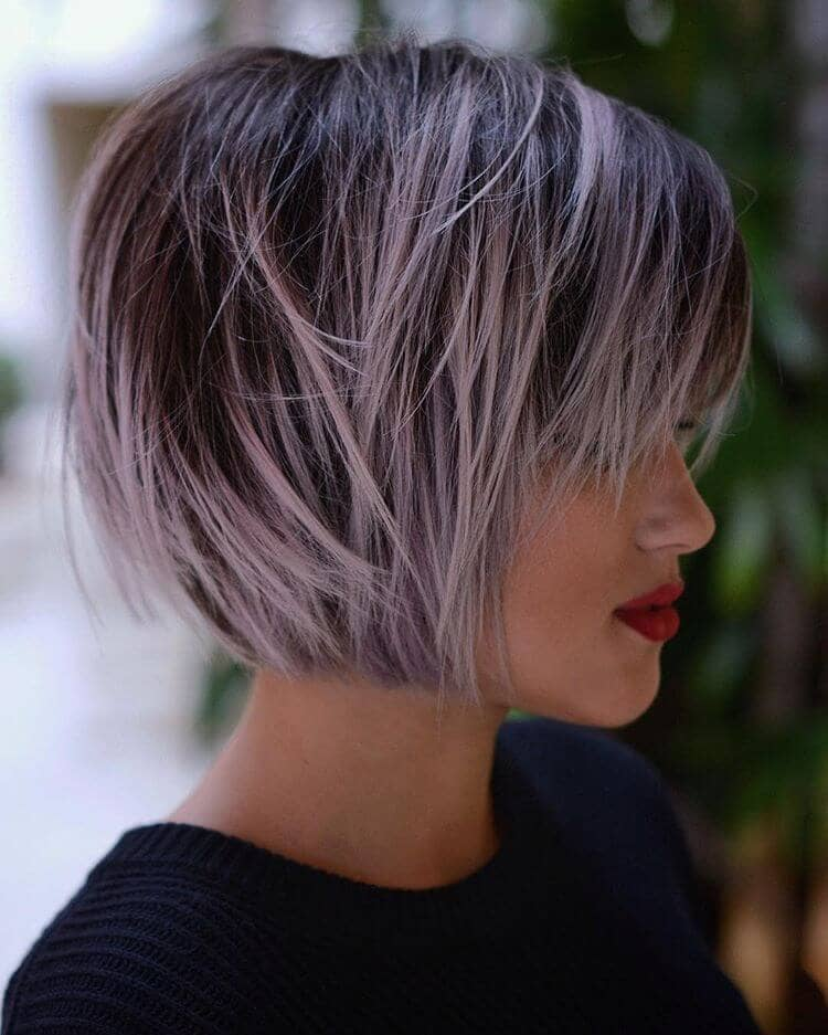 Beautiful Lavender Bob With Bangs