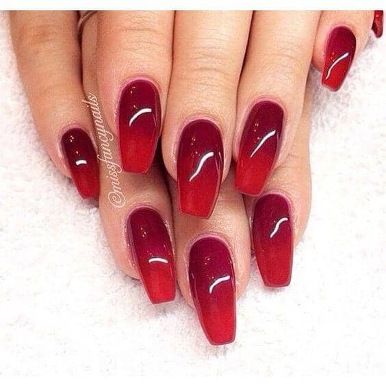Red And Oxblood Ombre Coffin Nails