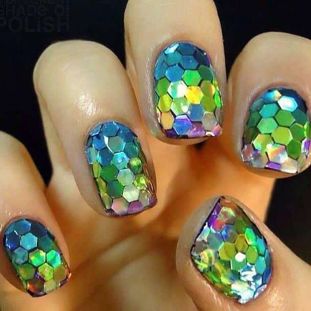 Hexagon Glitter Little Mermaid Nails