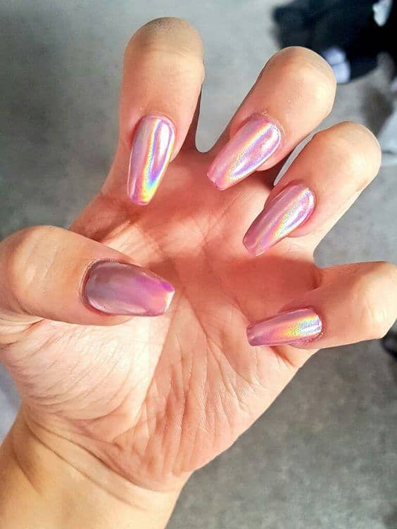 Bold Iridescent Hot Pink Long Nail Design