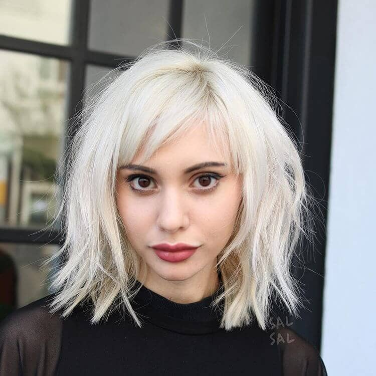 Tousled Platinum Lob With Side-parted Bangs