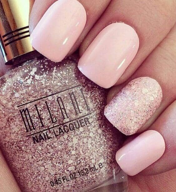 Opaque Pastel Pink And Pink Glitter Nail Design