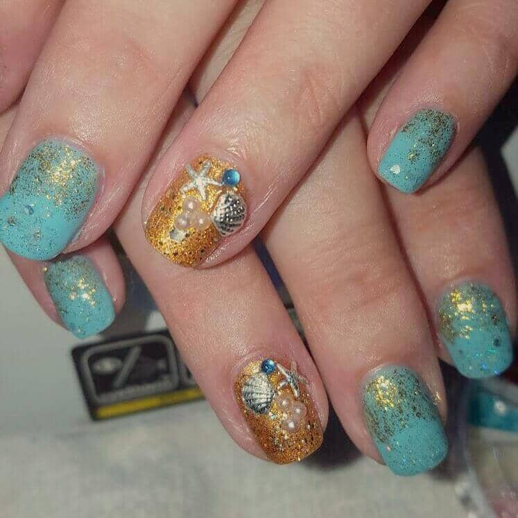 Tiny Golden Genie's Wish Granted Nail Art
