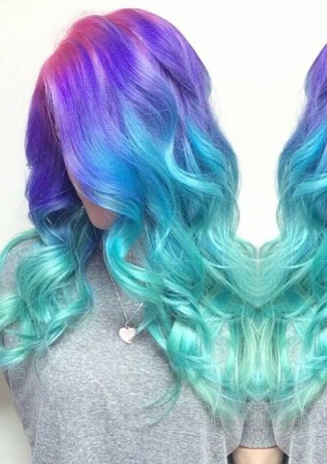 Pink, Purple, Blue and Green Hair
