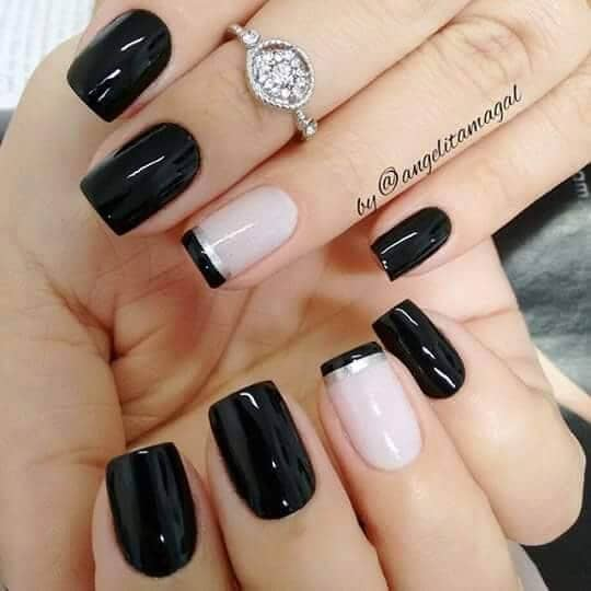 Black Nail Design with Striped Tips