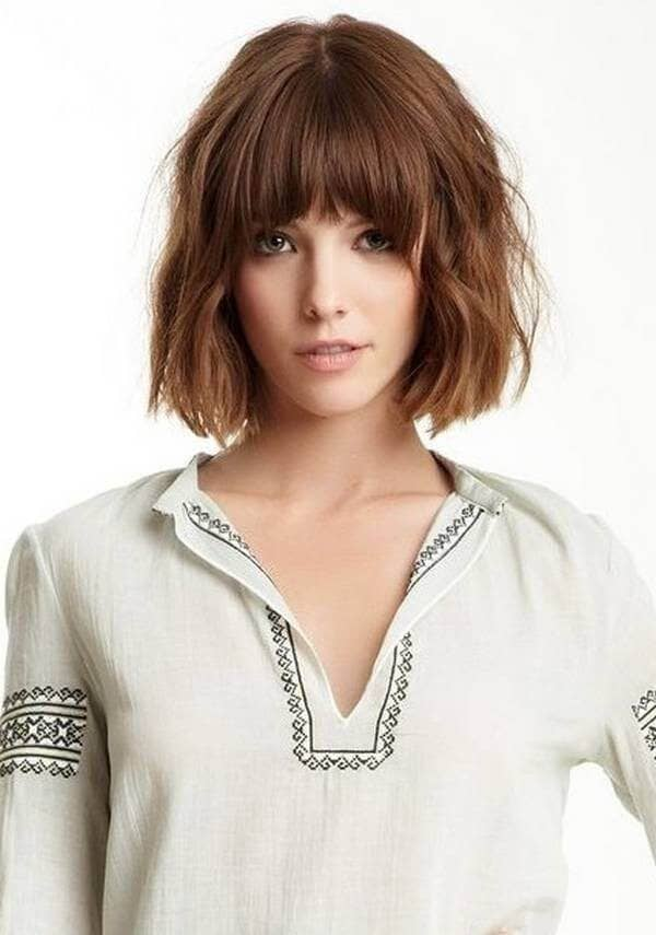 Loosely Crimped Bob With Full Bangs