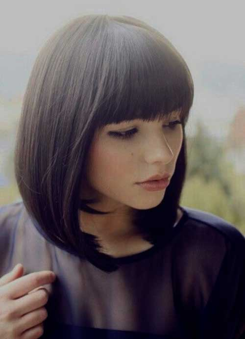 Sleek and Straight Bob With Blunt Bangs