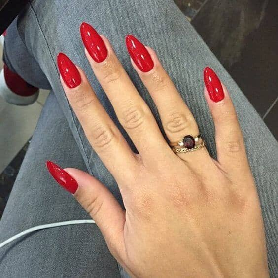 Red Stiletto Short Acrylic Nails