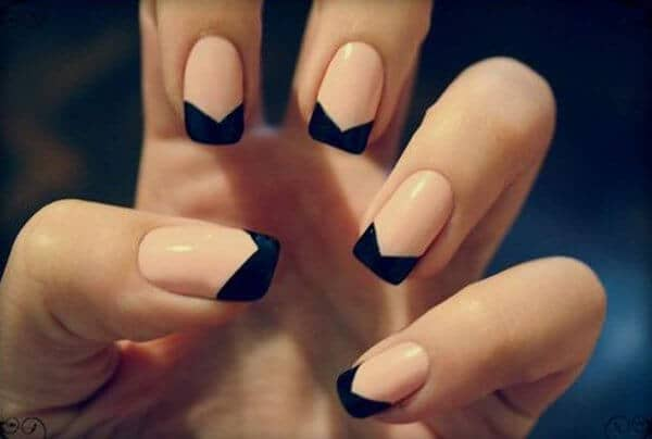 Dramatic Black and Peach French Tips