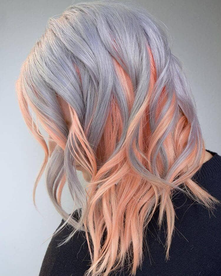 Silver and Pink Waves for Fine Hair