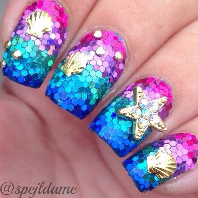 Stunning Superstar Striped Ombre Mermaid Nail Art