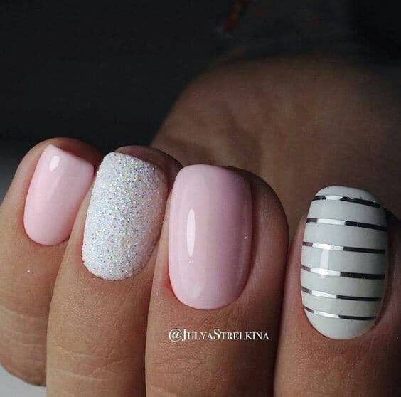 Tailored Silver Stripes Pink And Silver Nails