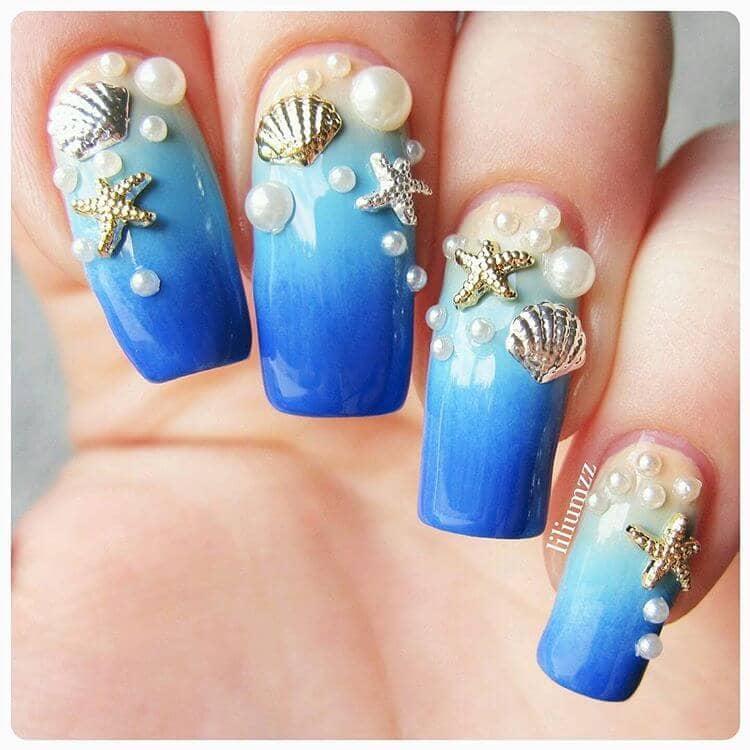 Deep Ocean Bottom Treasures Blue Nail Art