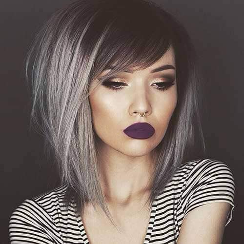 Sultry Silver Lob and Side Swept Bangs