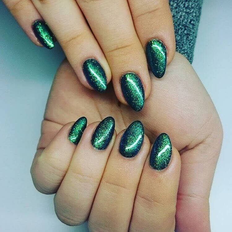 Gold and Emerald Nighttime Sky Nail Art