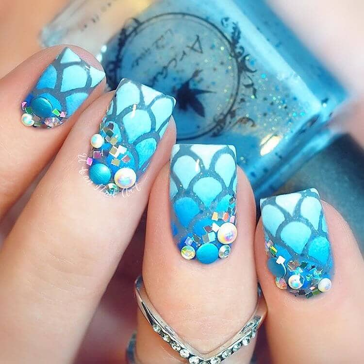 Blue All Over Bubble Explosion Nail Art