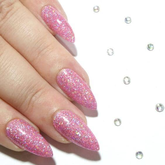 Bold Long Pointed Nails With Hot Pink Glitter