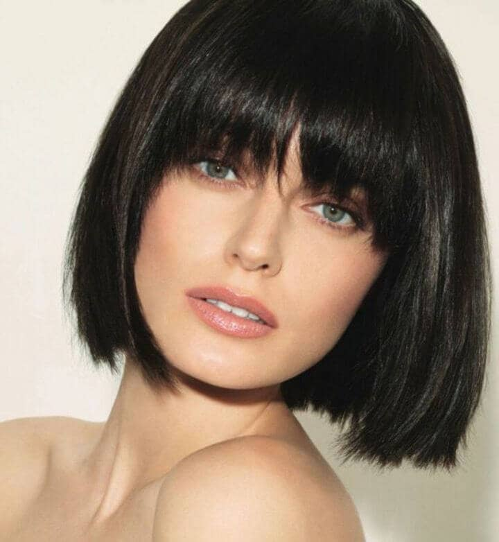 Sleek Glossy Bob With Eye-grazing Bangs