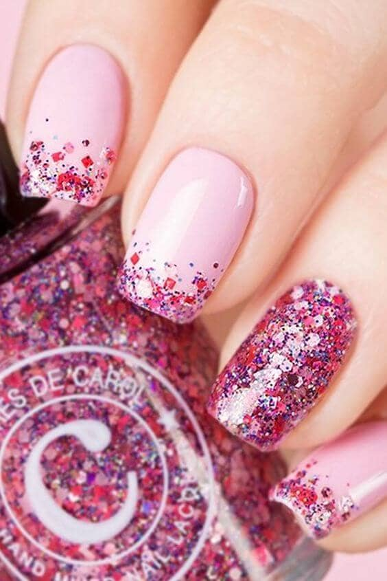 Hard Candy Hot Pink Glitter And Pink Base