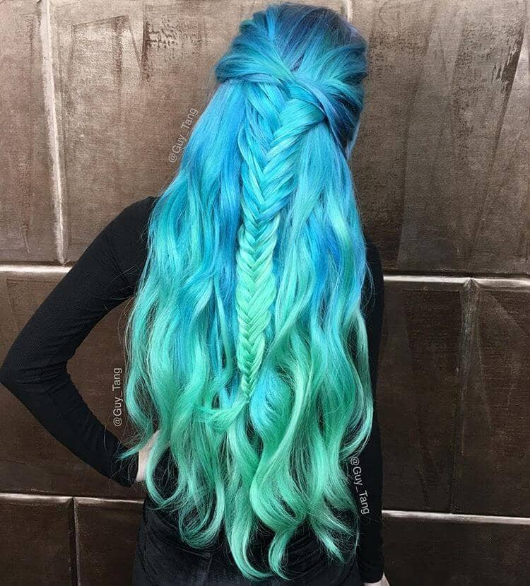 Long Turquoise Ombre Hair with Fishtail