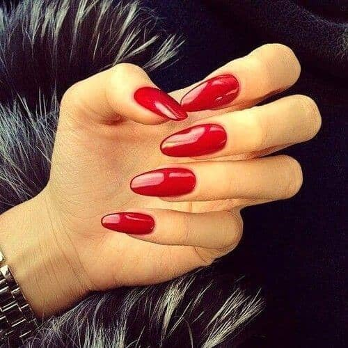 Mid Length Oval Traditional Red Fashion Manicure