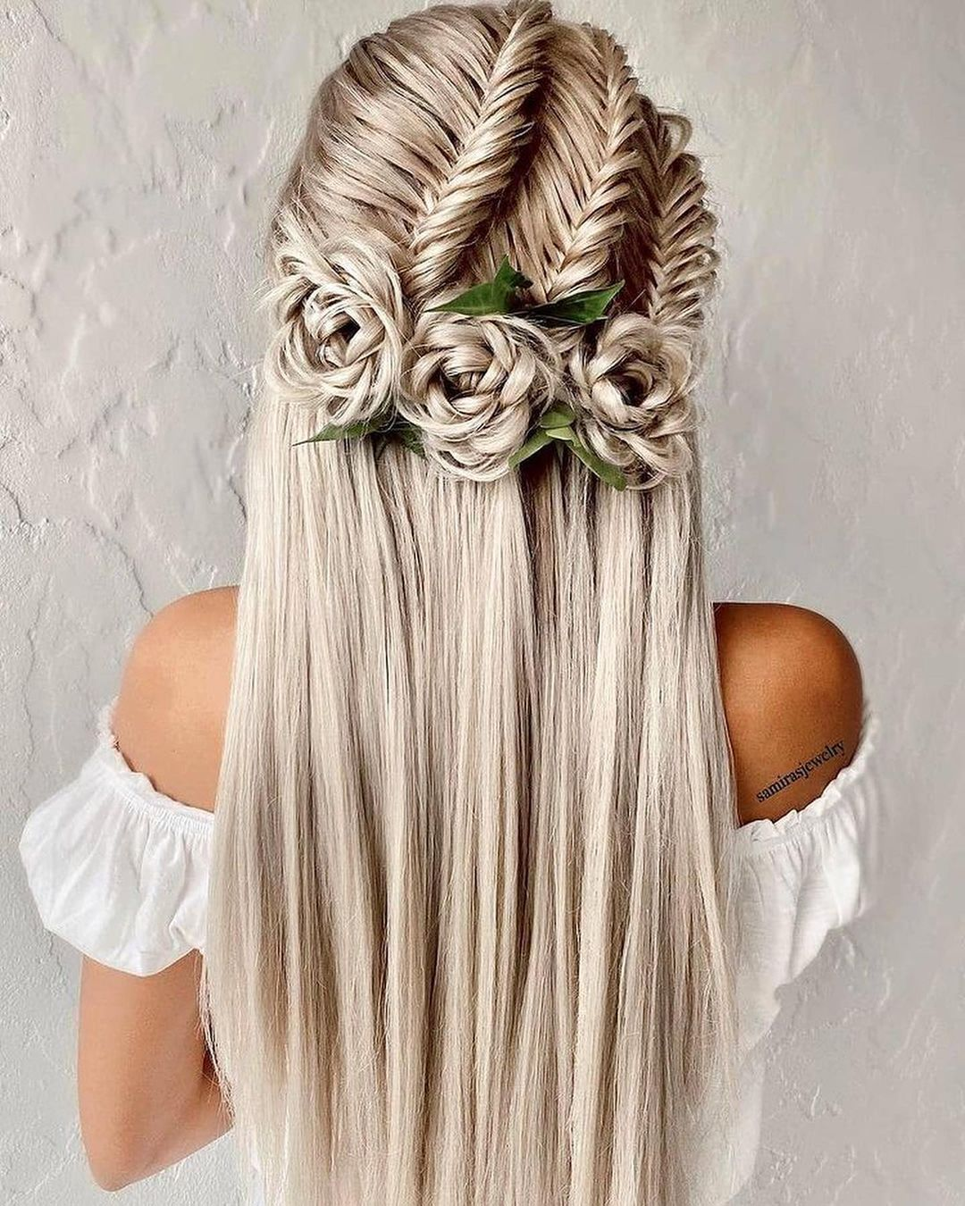 Romantic Roses with Long Straight Hair for a Whimsical Night