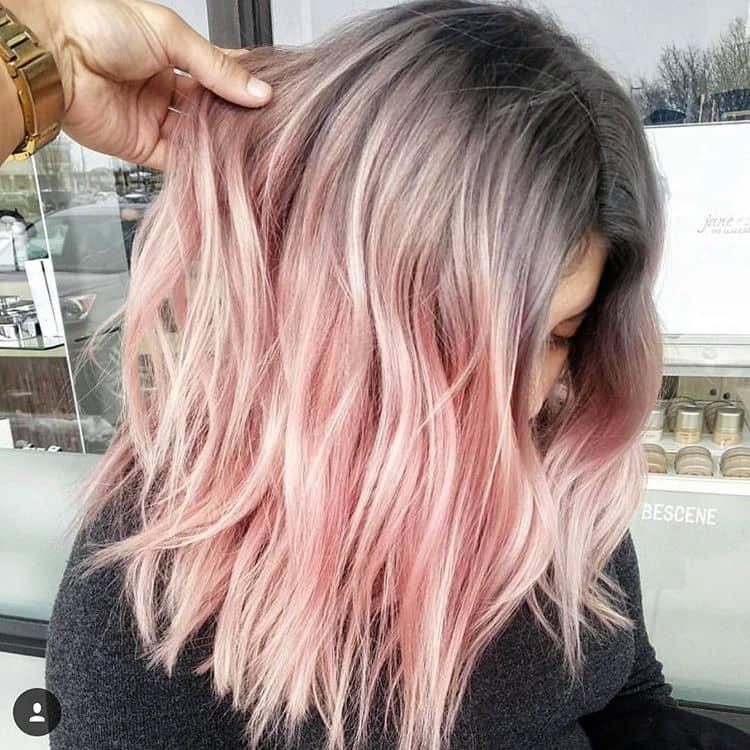Grunge Style Gray to Pink Hair Dye