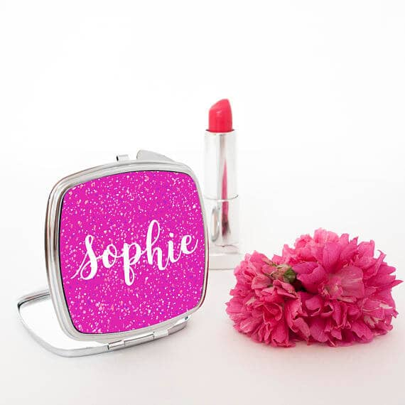 Sweet Sparkly Personalized Pocket Mirror