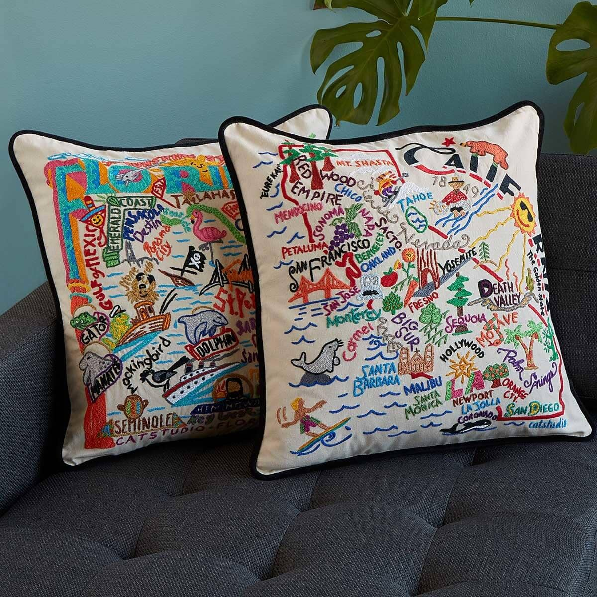 Hand Embroidered Cultural Icon State Pillows