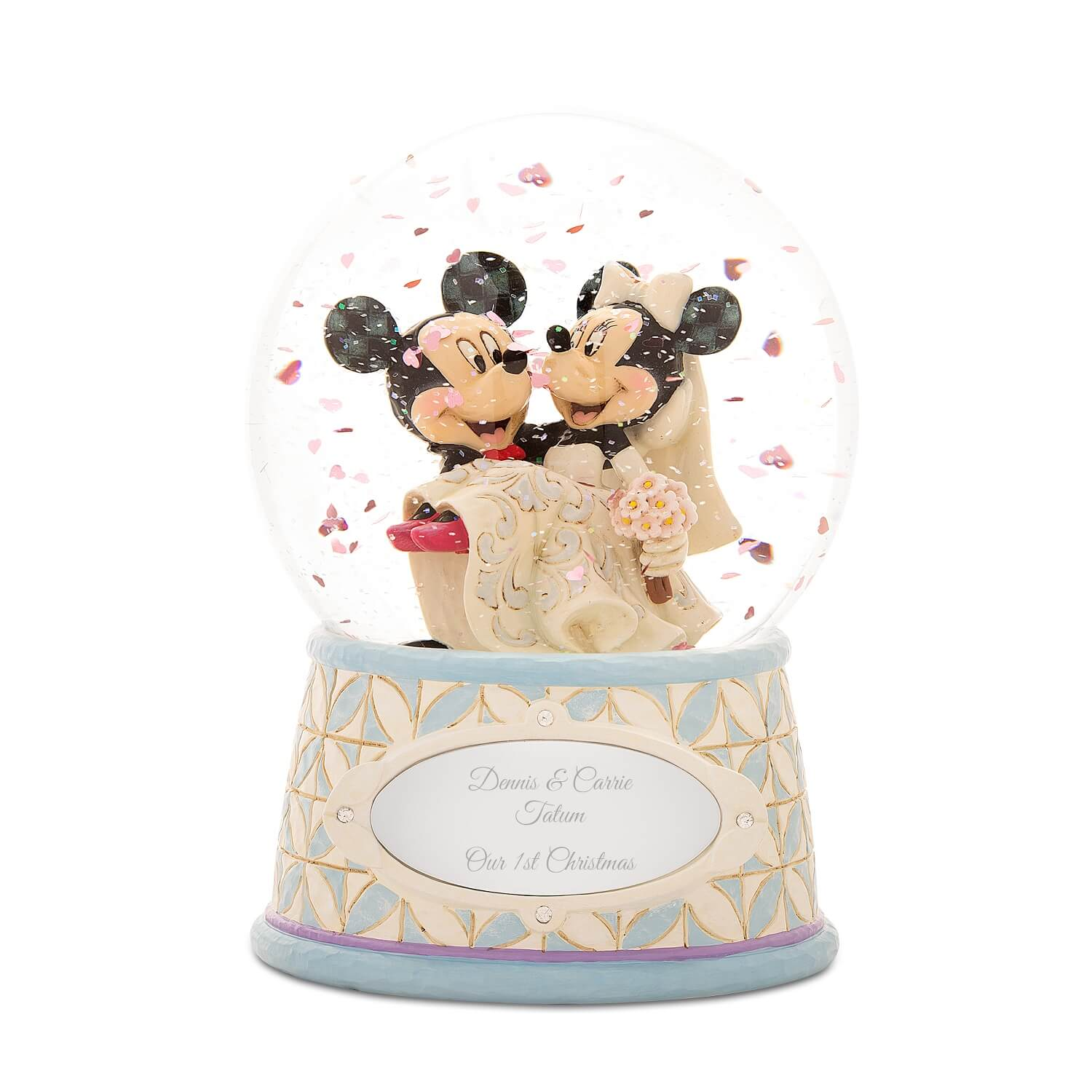 Mickey and Minnie Personalized Bride and Groom Snow Globe