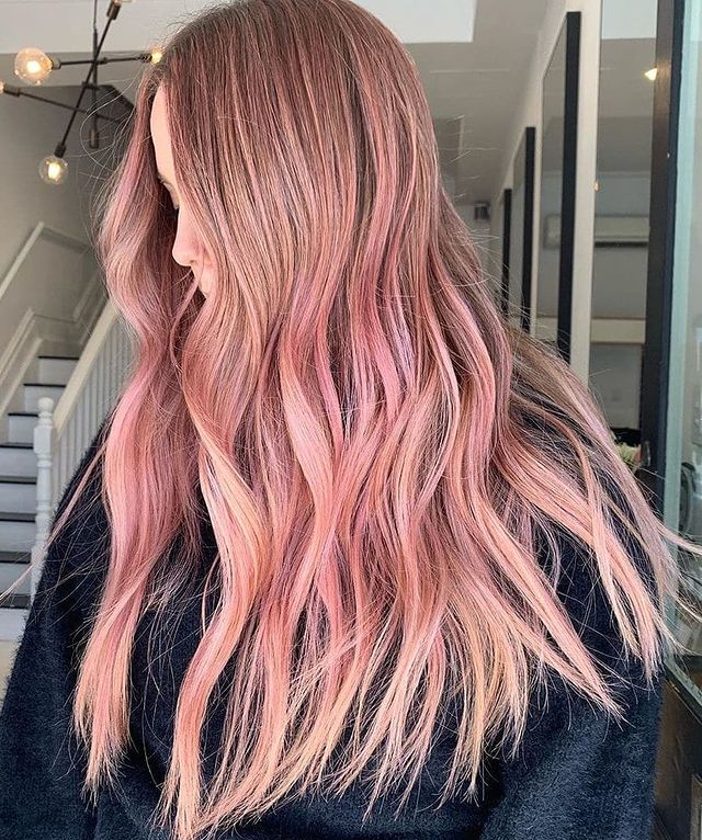 Muted Pink Hue with Wavy Pointed Locks