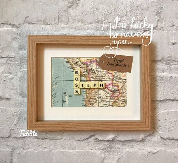Personalized World Map Engagement Gift