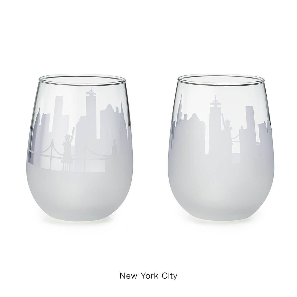 Set of 2 Etched Skyline Wine Glasses