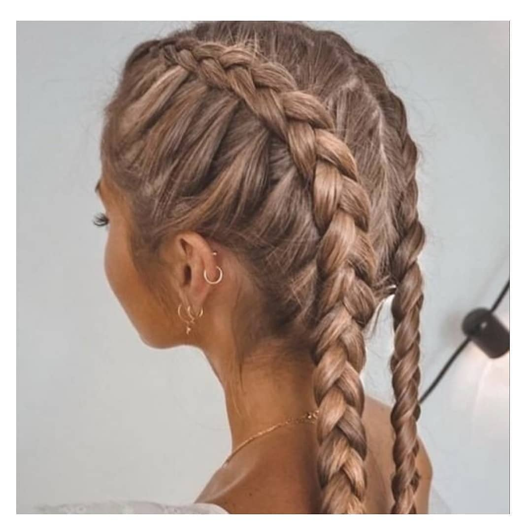 Middle Head Double Braids Hairstyle in Rose Gold