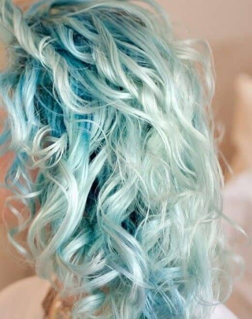 Light Blue Dark Roots Curly Hair