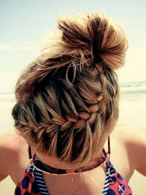 Braided Hair Swept Around to the Back