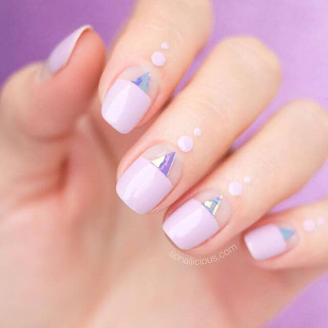Pale Pink with Chrome Triangles