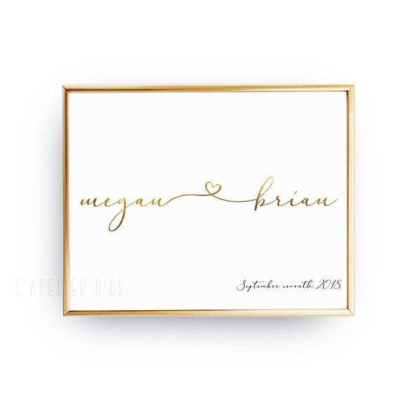 Couple's Name photo frame calligraphy foil engagement gift