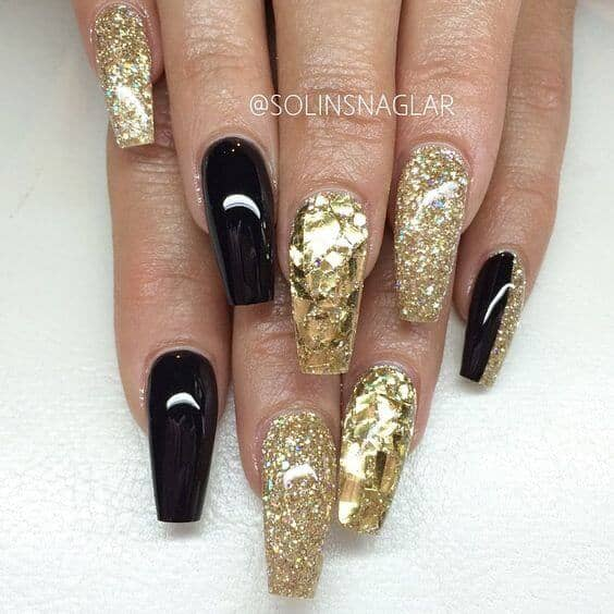 Black and Gold Coffin Nail Design