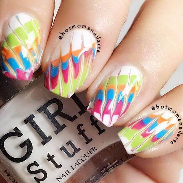 Tie Dyed and Marbled Birthday Nails