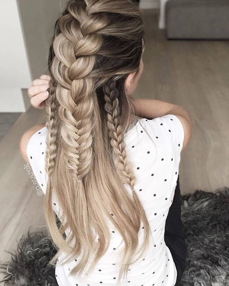 Triple French Braided Beauty for Long Hair