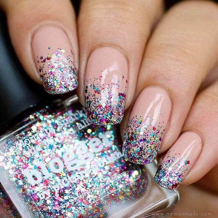 Pink Nails with Magical Glitter