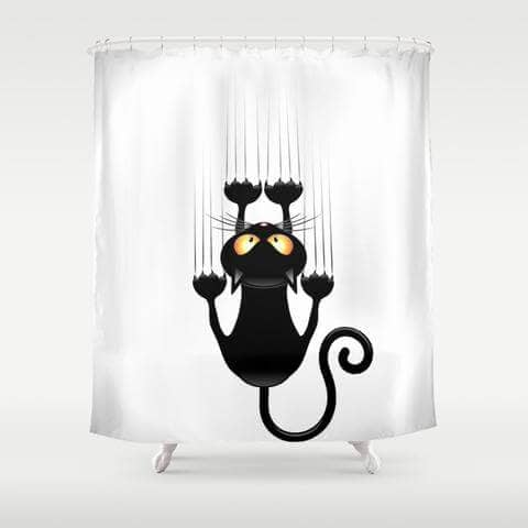 Cat Lovers Scratching Shower Curtain