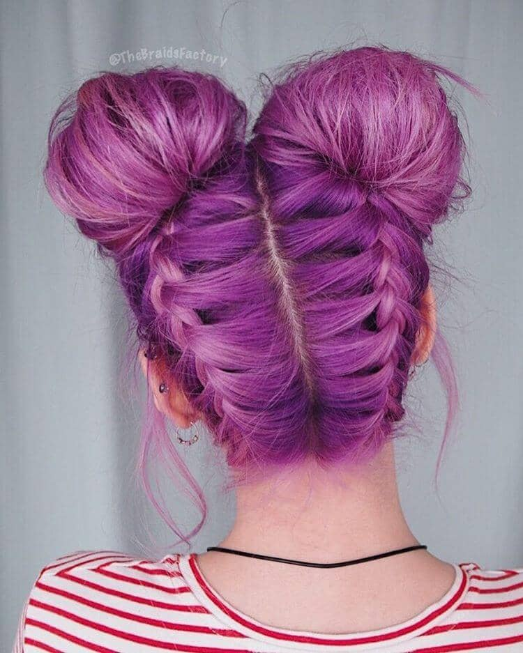 Double Bun Hairstyle with a Color Kick