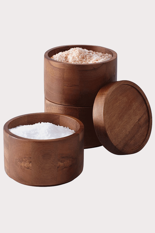 Acacia Wood Two Compartment Salt Cellar