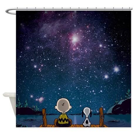 Galaxy Twist on Classic Snoopy Shower Curtain Gift