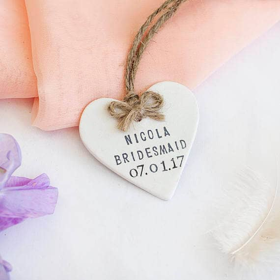 Personalized Engraved Ceramic Hearts with Twine Bow