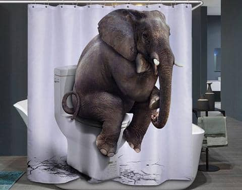 Elephant on the Toilet Curtain for the Shower