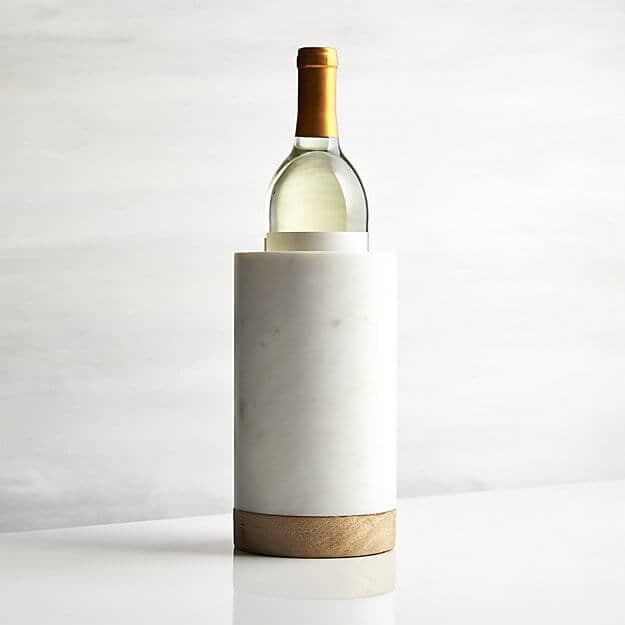 Wood White Marble Wine Cooler