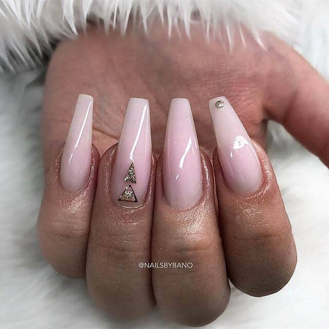 Pink Manicure With Rhinestone Accents